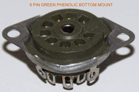9 pin US made bottom mount green phenolic sockets NOS (5 in stock)