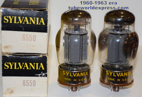 (!!!!!) (Best Overall Pair) 6550 Tungsol branded Sylvania smooth gray plates NOS same date codes 1963 era (141ma and 143ma)