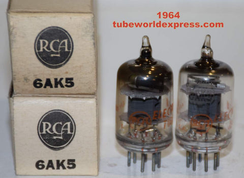 (!!!) (Best Pair) 6AK5 RCA gray plate NOS 1964 (10.1/10.2ma)