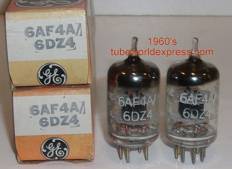 (!!) (#1 6DZ4 Pair) 6DZ4 GE NOS 1960's (24ma and 26.5ma)
