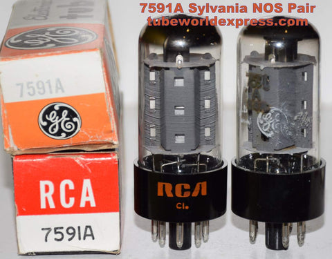 (!!!) (Recommended Pair) 7591A Sylvania NOS rebranded RCA and GE 1960's (54.5ma and 55.2ma)