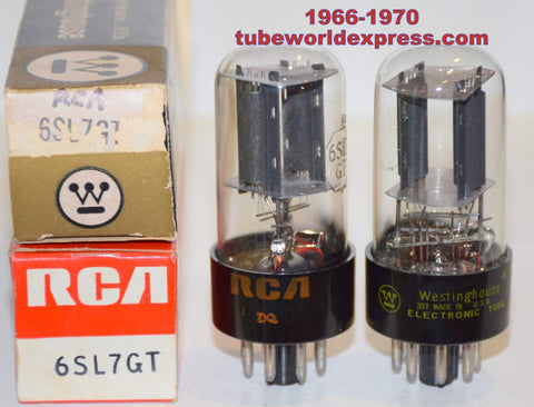 (!!!!) (Best RCA Pair) 6SL7GT RCA NOS 1966-1970 same build (2.2/2.2ma and 2.2/2.3ma) 1% matched