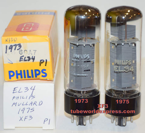 (!!!!!) (Best XF3 Pair) EL34 Mullard branded Philips XF3 1973-1975 (89ma and 93ma)