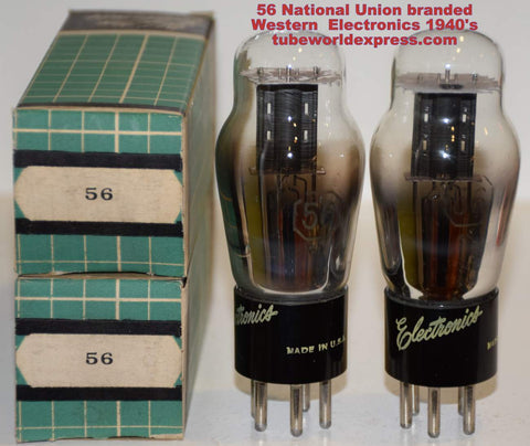 (!!!) (Recommended Pair) 56 National Union rebranded Western Electronics NOS 1940's (5.1ma and 5.2ma)