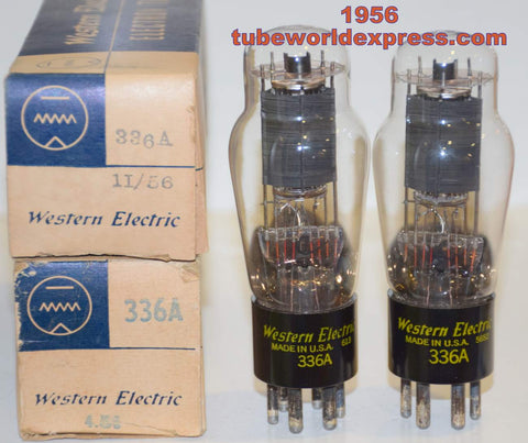 (!!!!!) (Recommended Pair) 336A Western Electric NOS 1956 (39ma and 42ma) (matched on Amplitrex)