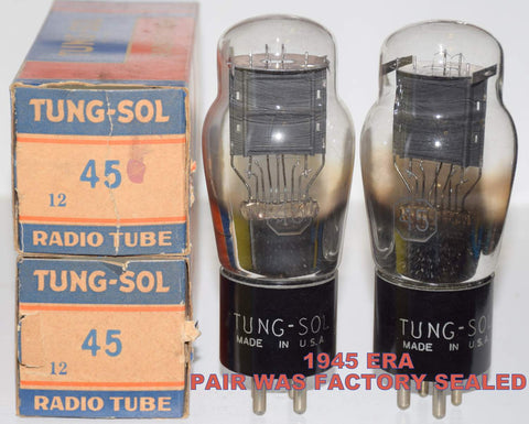 (!!!!!) (Best Overall Pair) 45 Tungsol 1945 NOS tubes were factory sealed (33.6ma and 34.2ma) 1-3% matched
