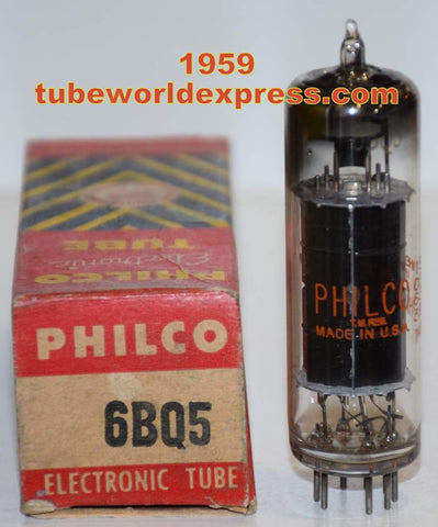 (!!) (Best Single) 6BQ5 Sylvania branded PHILCO black plate NOS 1959 (52.8ma)