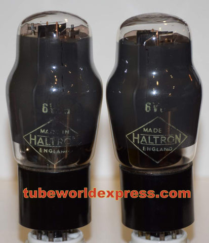 (!!!!!) (Best Mullard Pair) 6V6G Mullard branded Haltron England NOS gray coated glass NOS 1950 era (43ma and 44ma)