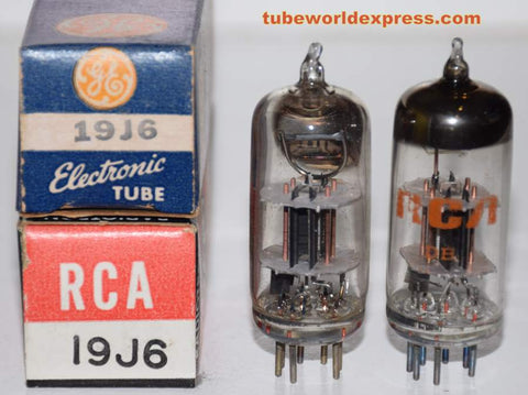 (!!!) (#2 19J6 Pair) 9J6 RCA NOS 1950's - 1960's same internal plate structure, different getter halo shape