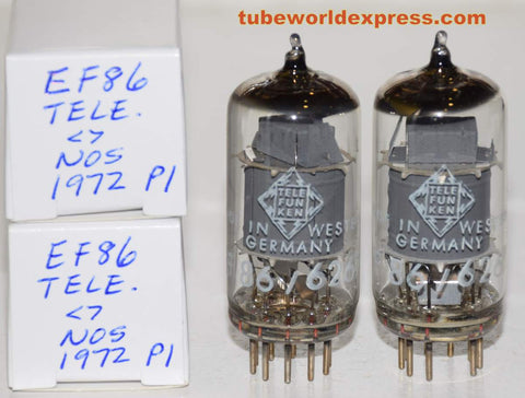 (!!!!) (Best Overall Pair) EF86 Telefunken Germany <> bottom NOS gray shield 1972 1-2% matched (3.6ma and 3.6ma) (Neumann, Lawson, Soundelux, Manley)