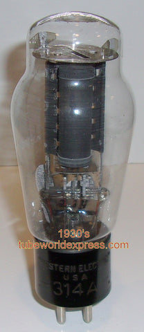 (!!!) 314A Western Electric Engraved base NOS 1930's slightly tilted glass in base (full-wave rectifier)
