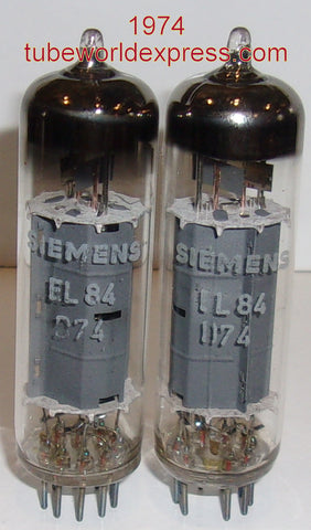 (!!) (#1 EL84 Best Value Pair) EL84 Siemens made by Hyperlec Brive Correza France NOS 1974 (49.2ma and 51.5ma) (matched on Amplitrex)