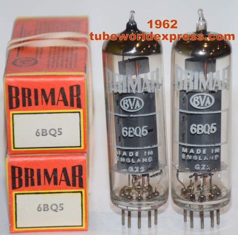 (!!!!) (Best Brimar Pair) EL84 Brimar England NOS 1962 (49.5ma and 50.5ma) (reference quality smooth sound)