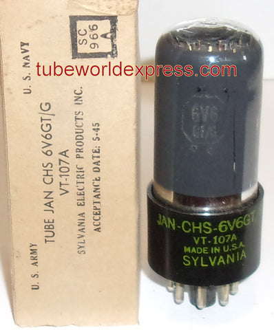 (!!) (~ Recommended Sylvania ~) JAN-CHS-6V6GT Sylvania coated glass NOS 1945 (39.2ma)
