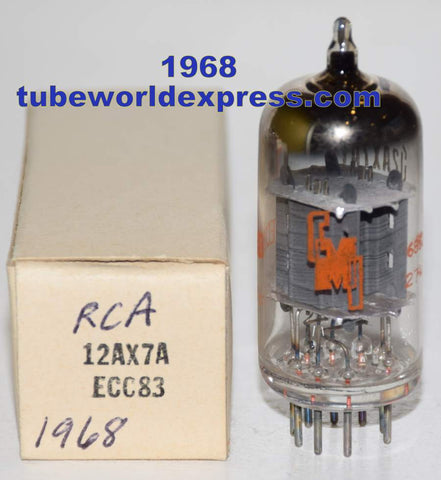 (!!!!!) (Recommended RCA Single) 12AX7A RCA CMI gray ribbed plates NOS 1968 (Gm=1500/1550 and 0.9/1.0ma)