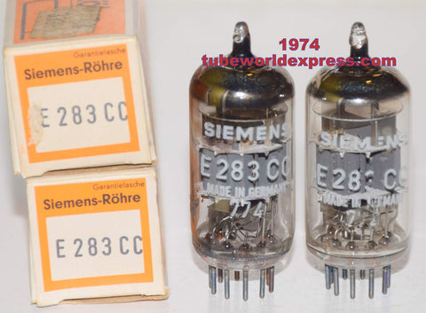 (!!!) (Recommended Pair) E283CC Siemens Germany NOS original boxes 1974 (1.1/1.1ma and 1.1/1.4ma Gm=1500/1600 and 1500/1600)