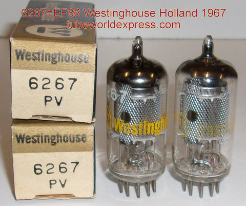 (!!!!) (#1 EF86 HOLLAND 1962 PAIR) EF86 Westinghouse Holland NOS, Belgium plant 1967 (3.4ma and 3.5ma) (matched on Amplitrex)