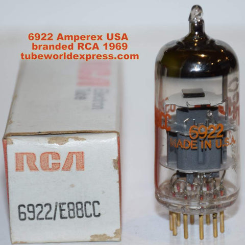 (!) (~ Recommended Single ~) E88CC=6922 Amperex USA branded RCA NOS 1969 (11.5/12.3ma)