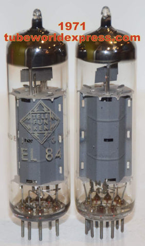 (!!!!) (Best Siemens Pair) EL84 Siemens Halske Germany used/test like new 1971 (48.2ma and 48.5ma) (High Gm)
