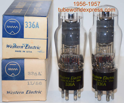 (!!!!!) (BEST Pair) 336A Western Electric NOS 1956-1957 (42.0ma and 43.3ma) (Highest Ma) (matched on Amplitrex)