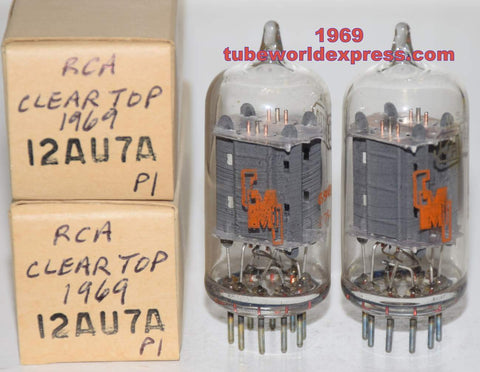 (!!!!!) (Recommended Pair) 12AU7A RCA CMI clear top copper grid posts NOS 1969 (9.0/9.8ma and 9.2/9.6ma) 1-2% matched (CMI=Chicago Musical Instrument Co.)
