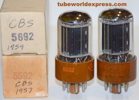 (!!!!!) (Best CBS Pair) 5692 CBS Hytron Brown base NOS 1957 and 1959 same build (9.1/9.2ma and 8.6/9.6ma)