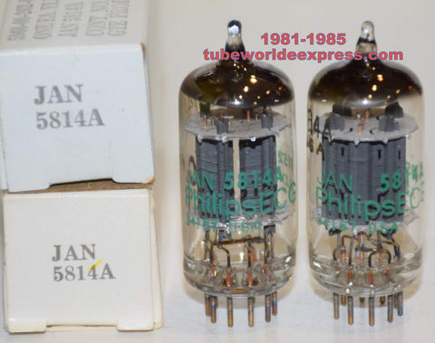 (!!!!!) (Best Pair) 5814A Philips JAN NOS 1981-1985 (11/11.2ma and 10.5/11.5ma)