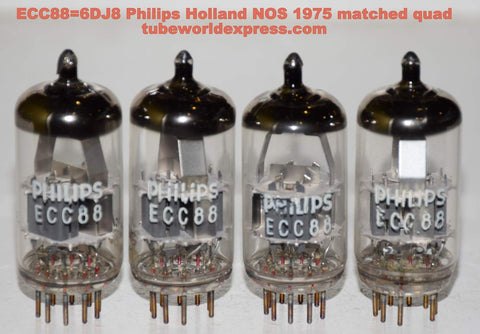 (!!!!!) (Best 6DJ8 Quad) ECC88=6DJ8 Philips Holland A Frame 1975 NOS in white boxes (matched quad)