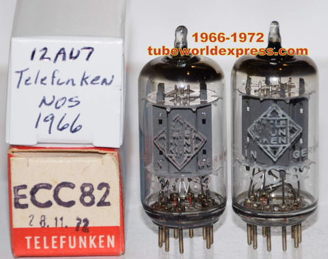 (!!!!!) (2nd Best Telefunken Pair) 12AU7=ECC82 Telefunken Germany smooth plates NOS 1966 and 1972 1-3% matched (9.6/10.6ma and 10.2/10.8ma)