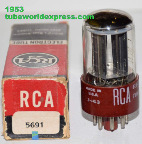 (!!!!) (Recommended Single) 5691 RCA Red Base Black Plates NOS 1953 (2.0ma/2.2ma)