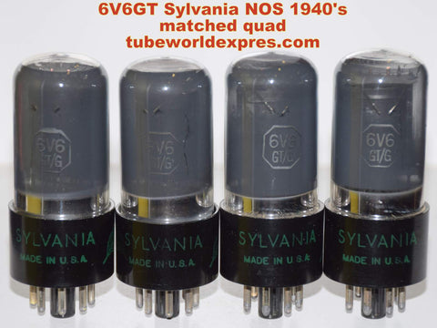 (!!!!) (BEST SYLVANIA QUAD 1940's) 6V6GT Sylvania green leaf coated glass NOS 1940's in white boxes (42/43/43.5/43.6ma)