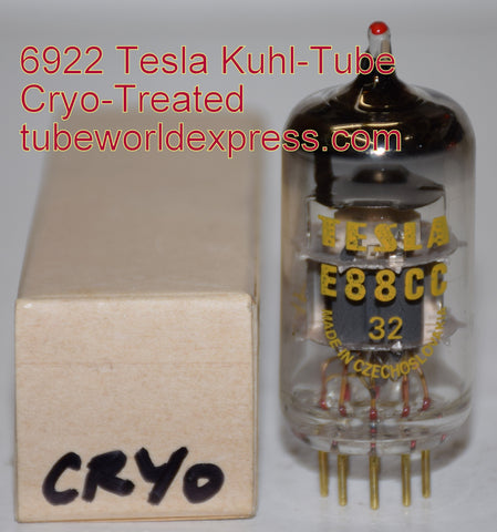 (!!) (#1C 6922 Tesla Cryo) 6922=E88CC Tesla Czech Republic red-tip mil-spec NOS 1980's Kuhl-Tube cryo-treated (11.4ma/14.2ma)