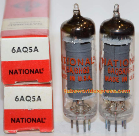 (!!) (~ Best GE Pair ~) 6AQ5A GE NOS rebranded National 1970's (46.6ma and 48.8ma)