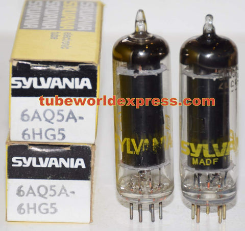 (!!!) (Recommended Pair) 6AQ5A Sylvania black plate NOS 1970's (40ma and 41.5ma)