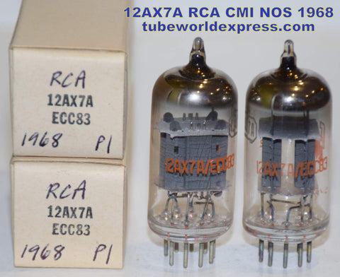 (!!!!!) (Best Overall RCA Pair 1968) 12AX7A RCA CMI gray ribbed plates NOS 1968 same date codes (best tone) (1.3/1.3ma and 1.2/1.3ma) 1-2% matched
