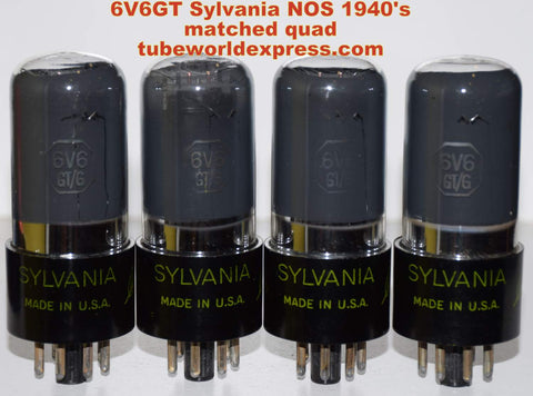 (!!!!) (#1 6V6GT SYLVANIA QUAD 1940's) 6V6GT Sylvania green leaf coated glass NOS 1940's in white boxes (44/44/45/46ma)