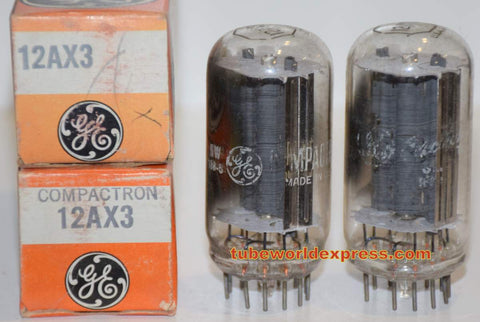 (!!) 12AX3 RCA branded GE short bottle NOS 1960's (1 pair)