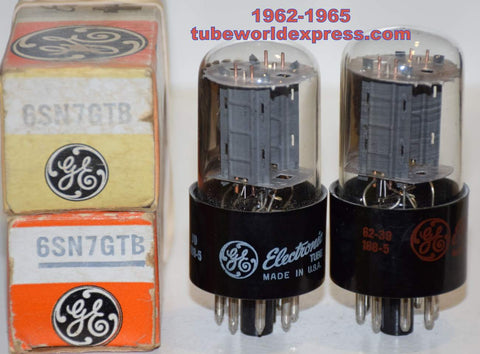 (!!!!!) (Best GE Pair) 6SN7GTB GE NOS 1962-1965 (7.7/7.7ma and 7.3/7.9ma)