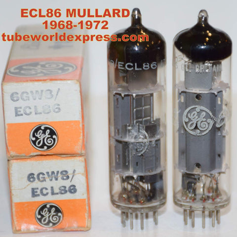 (!!) (Recommended Mullard Pair) ECL86 Mullard branded GE NOS 1968-1972 1-2% matched
