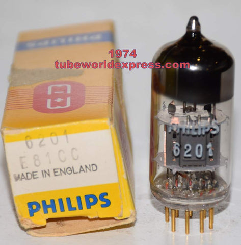 (!!!!) (Best Mullard Single) 6201=12AT7 Mullard branded Philips gold pins NOS 1974 (10.5/12.5ma)