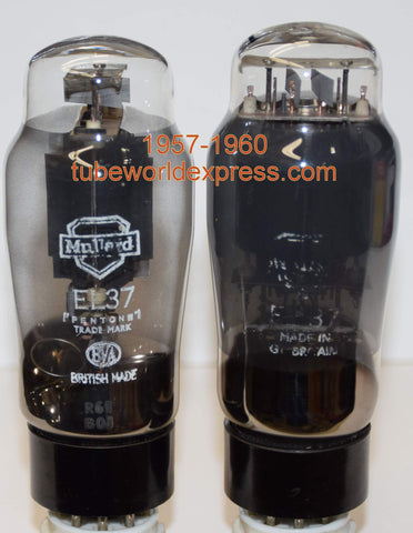 (!!!!) (~ BEST MATCHED PAIR 1950's - 1960 ~) EL37 Mullard Pair 1957-1960) EL37 Mullard black plates double