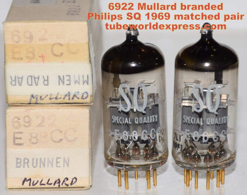 (!!!!!) (Best Mullard Pair) E88CC=6922 Mullard England Mitcham plant branded Philips SQ NOS 1969 same date codes (13.0/14.8ma and 14.0/14.2ma) (3D MIDS, low noise)