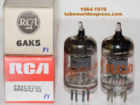(!!!) (Recommended Pair) 6AK5 RCA gray plate NOS 1964-1970 (7.0/7.3ma)