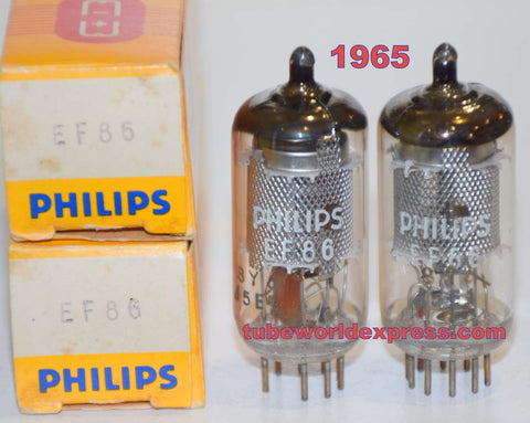 (!!!!!) (BEST OVERALL PAIR) EF86 Philips Holland NOS 1965 (3.6ma and 3.6ma) 1% matched (same sound as EF86 Amperex Bugle Boy Holland)