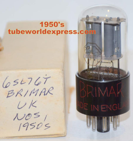 (!!!) (slightly microphonic - low noise) 6SL7GT Brimar NOS black base gray plates 1950's (2.3/2.7ma)