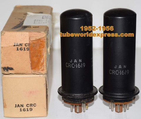 (!!!) (Recommended PAIR) JAN-CRC-1619 RCA NOS 1952 and 1956 (52ma and 52.5ma) (matched on Amplitrex)