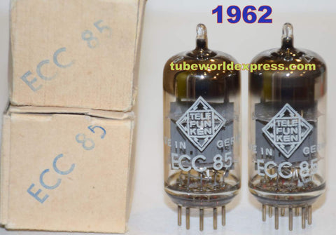 (!!!!) (BEST OVERALL PAIR) ECC85=6AQ8 Telefunken <> bottom NOS Eagle Crest mil-grade 1962 (9.8/10.8ma and 10.0/10.6ma)