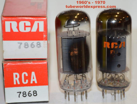 (!!) (Recommended Pair) 7868 RCA NOS 1960's - 1970 (56.5ma and 60ma) (matched on Amplitrex)
