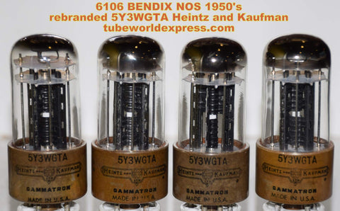(!!!!) (Best 6106 Quad) 6106 Bendix 1950's rebranded 5Y3WGTA Heintz & Kaufman NOS (matched quad)