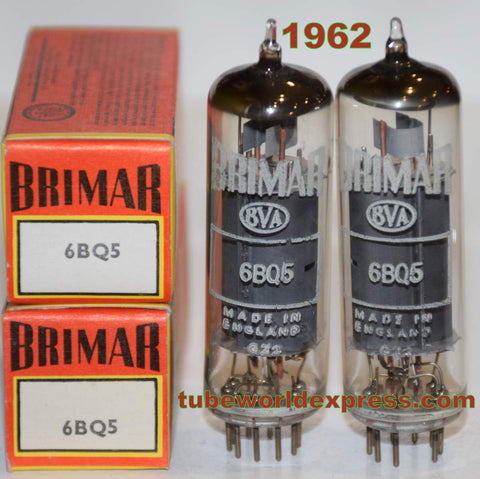 (!!!!) (Recommended Pair) EL84 Brimar England NOS 1962 slightly tilted glass (46ma and 46.5ma)